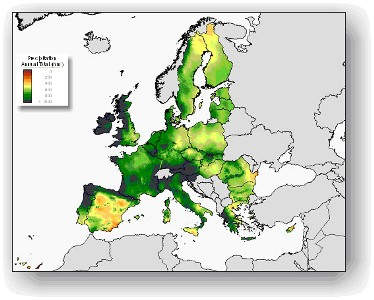 European Food Safety Authority EFSA Data PERSAM Software Tool - Portugal rainfall map