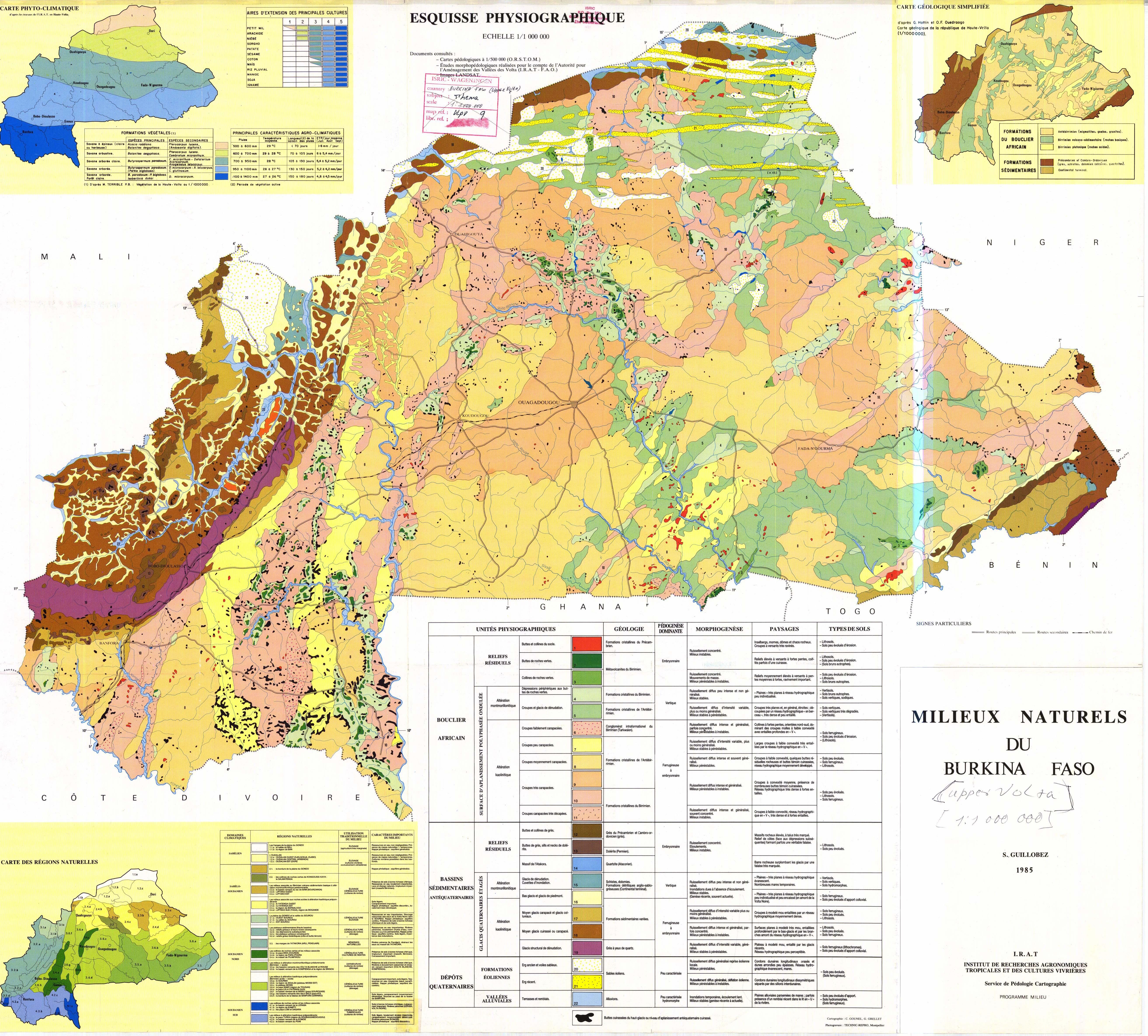Milieux naturels du Burkina Faso. Esquisse Physiographique. Carte ...