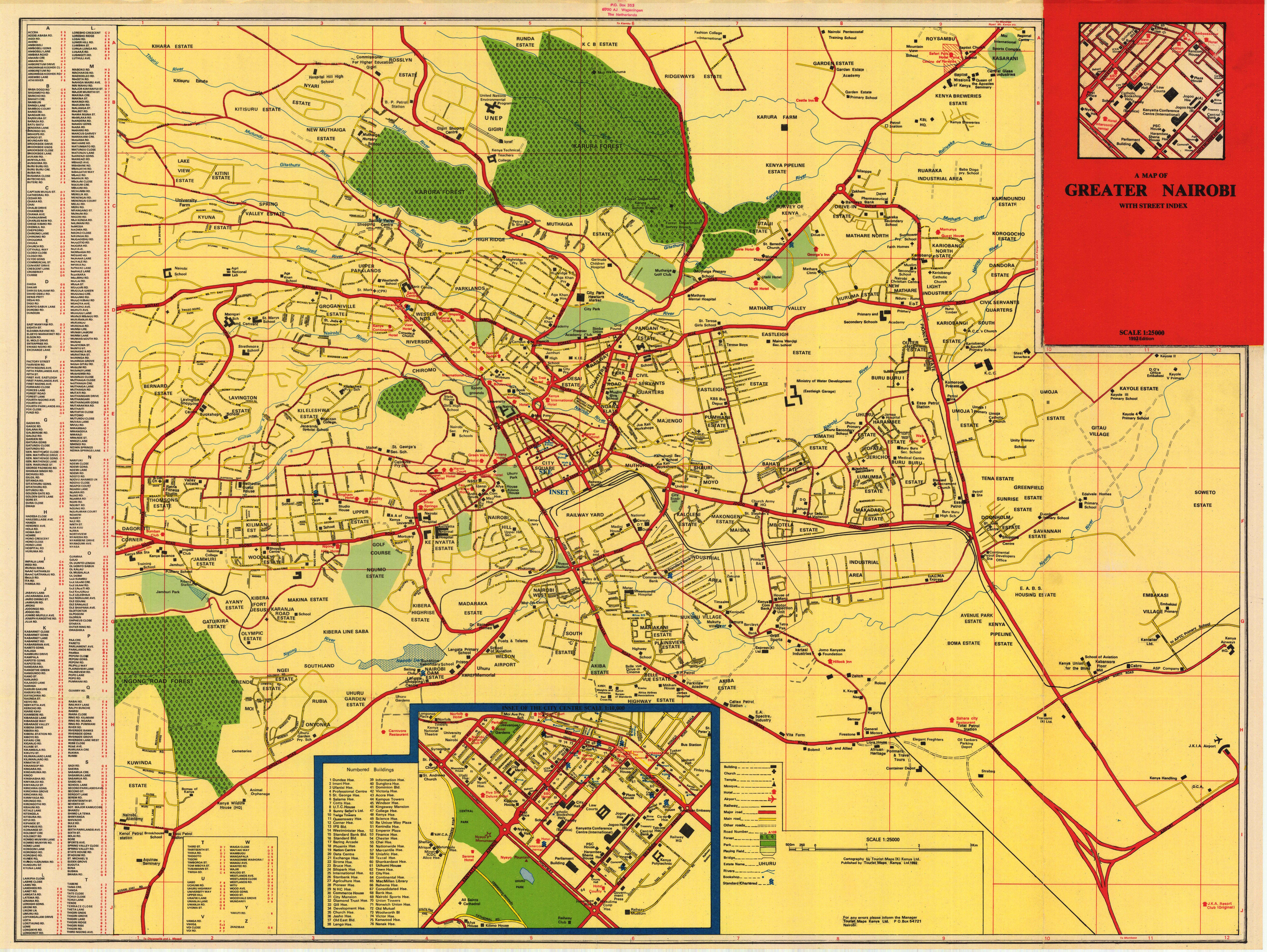 A Map Of Greater Nairobi With Street Index ESDAC European - nairobi map