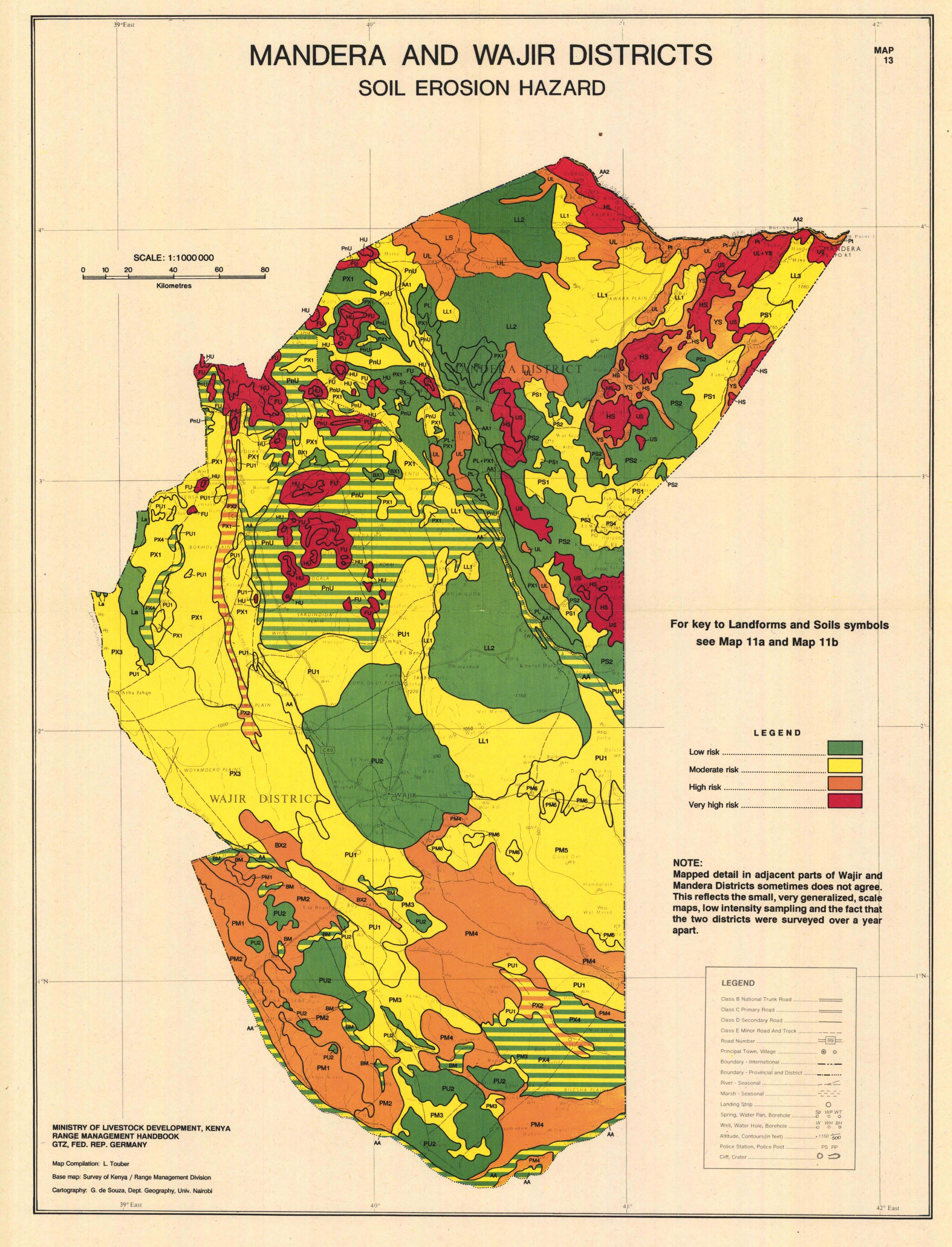 National soil maps eudasm esdac european commission mandera and wajir districts soil erosion hazard map 13 for key to landforms and soils symbols see map 11a and map 11b gumiabroncs Images