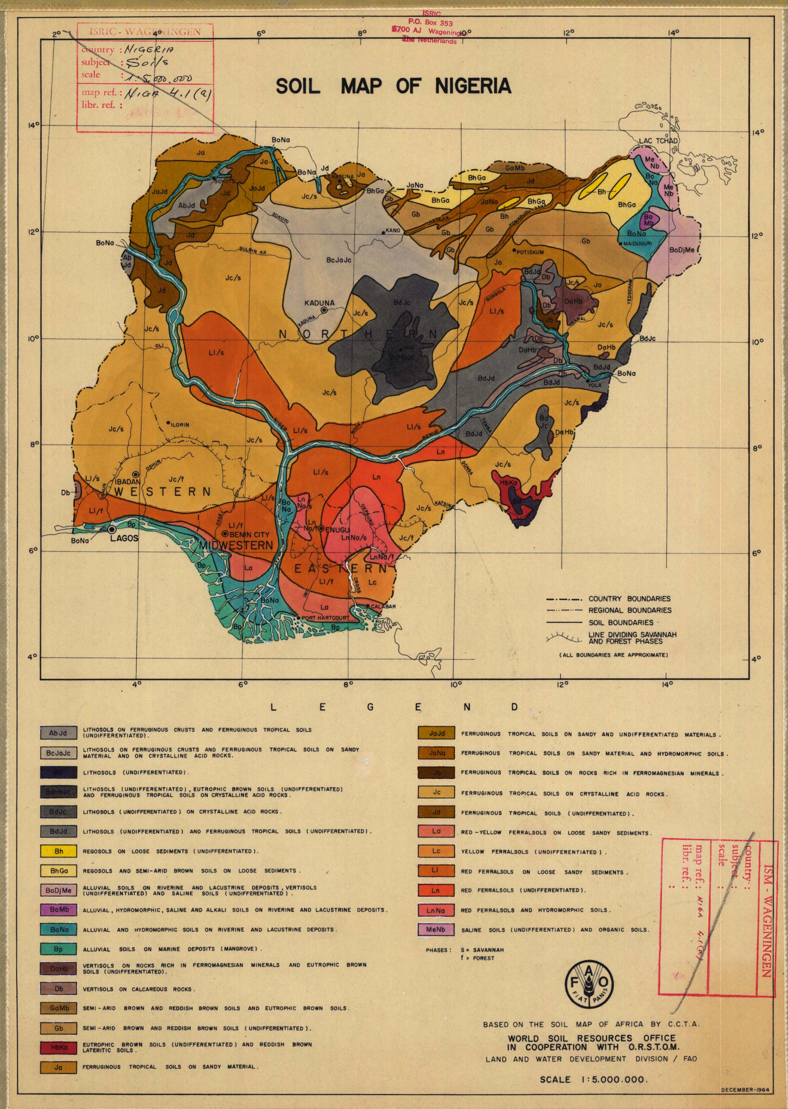 Africa Map Nigeria.Soil Map Of Nigeria Based On The Soil Map Of Africa By C C T A
