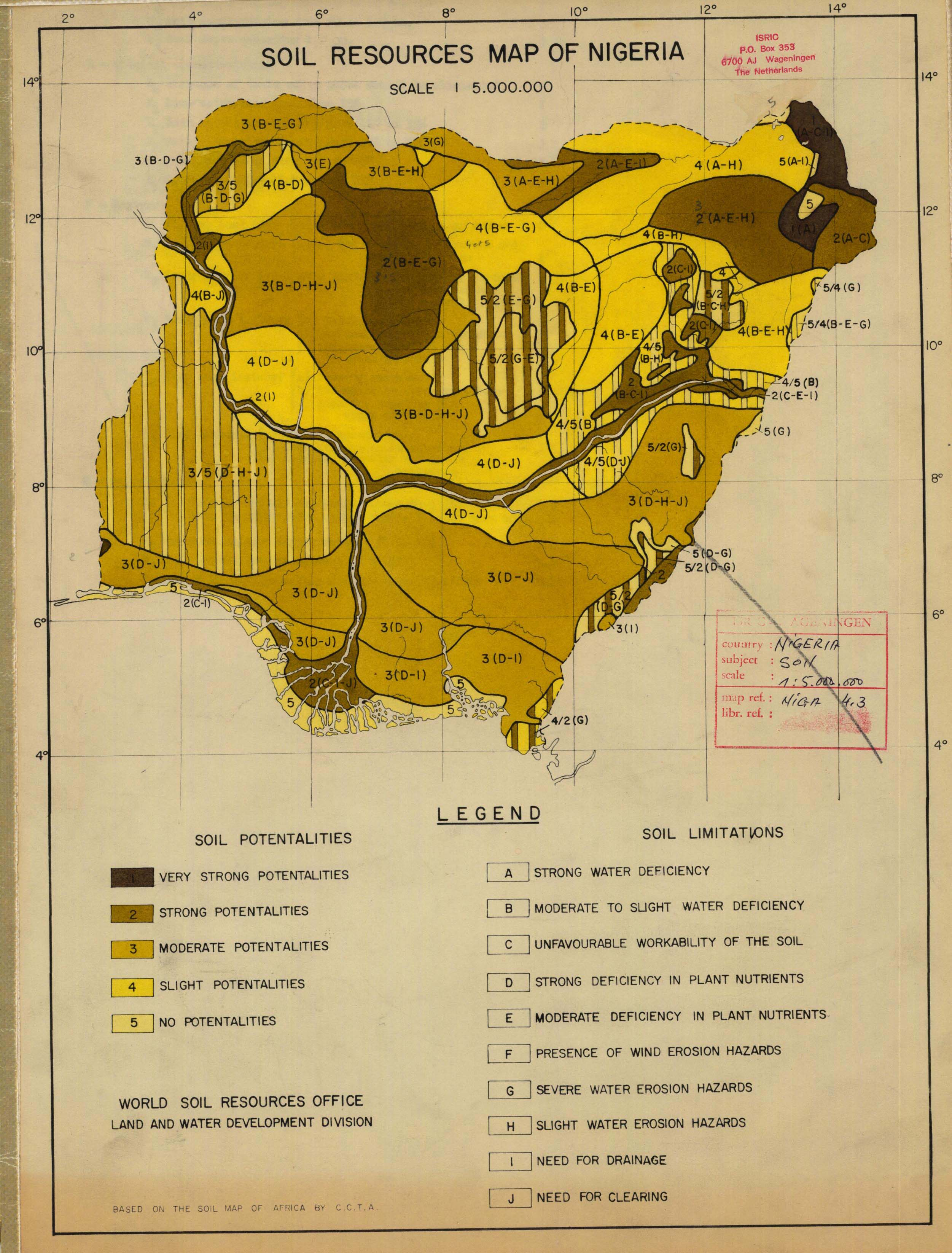 Soil resources map of nigeria map of present productivity for T and t soils