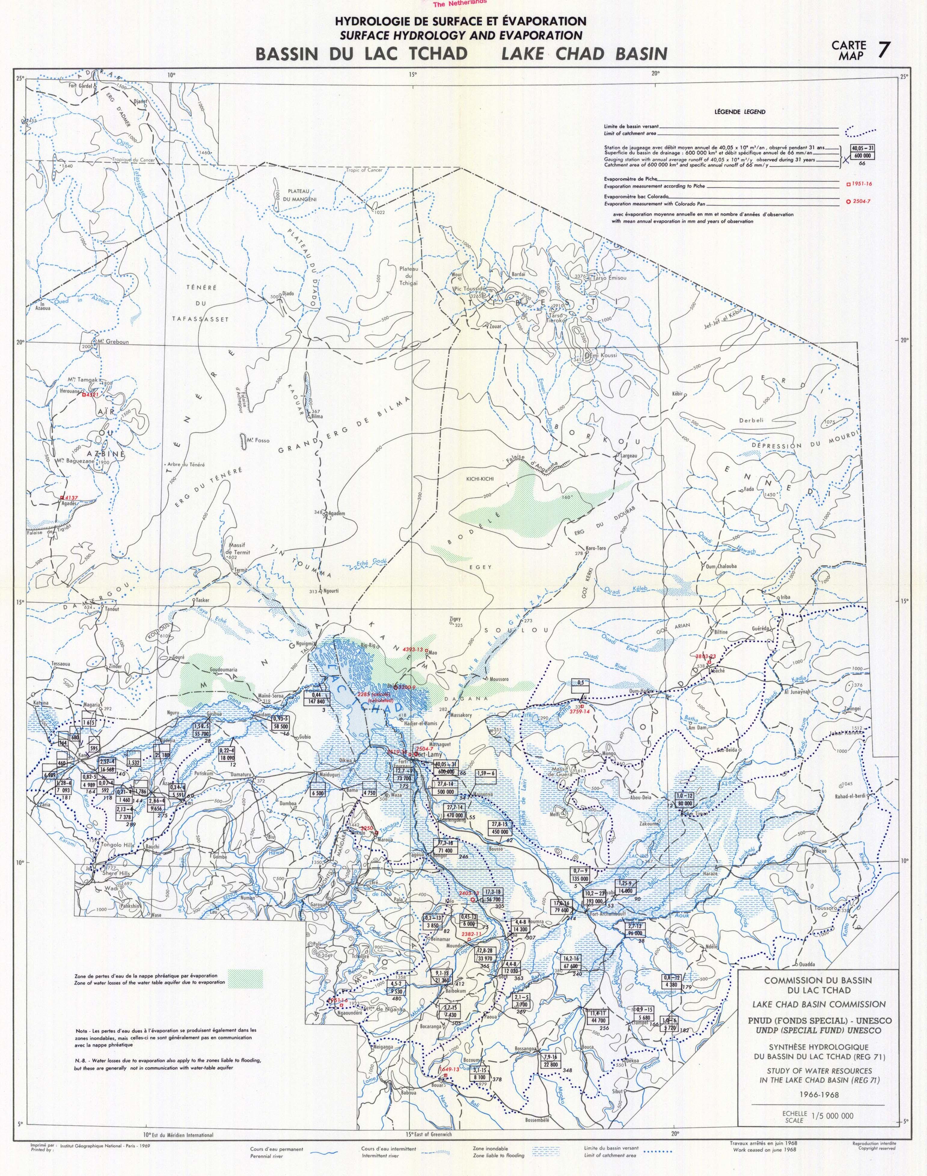 Bassin du Lac Tchad. Hydrologie de Surface et Évaporation. Carte 7. [Lake Chad Basin. Surface ...