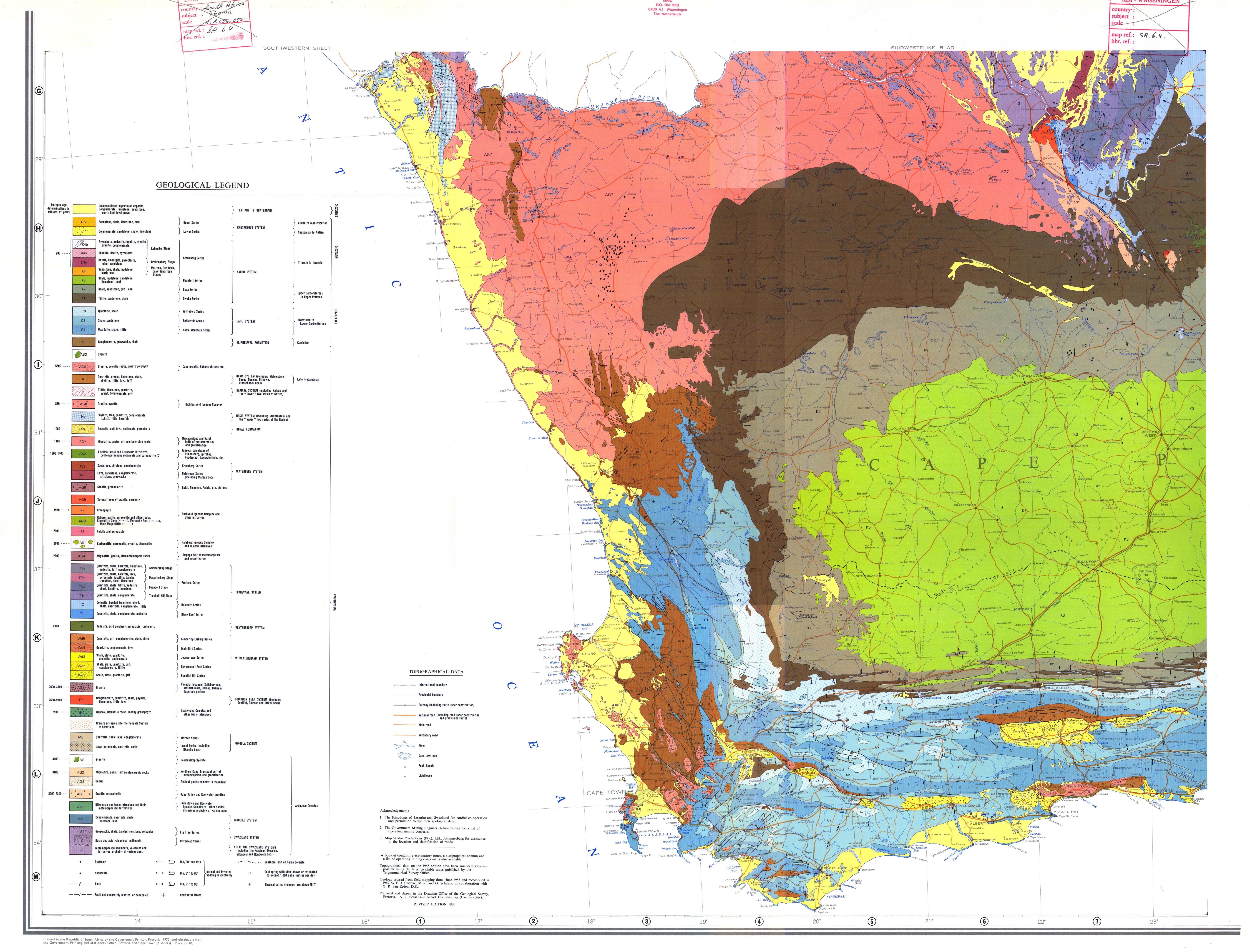 geologiese kaart van die republiek van suid