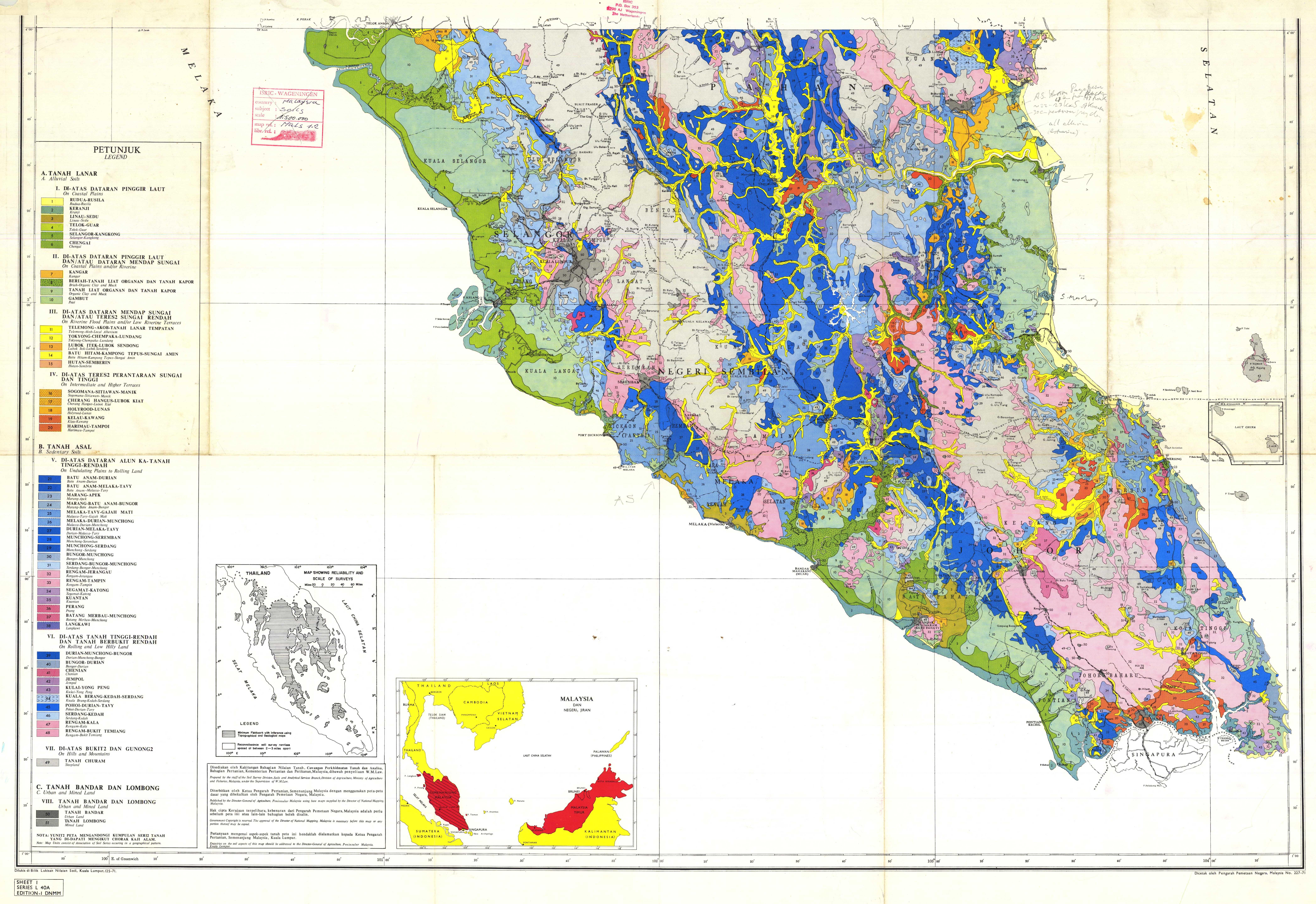 Reconnaissance Soil Map of Peninsular Malaysia Sheet 1 Series L