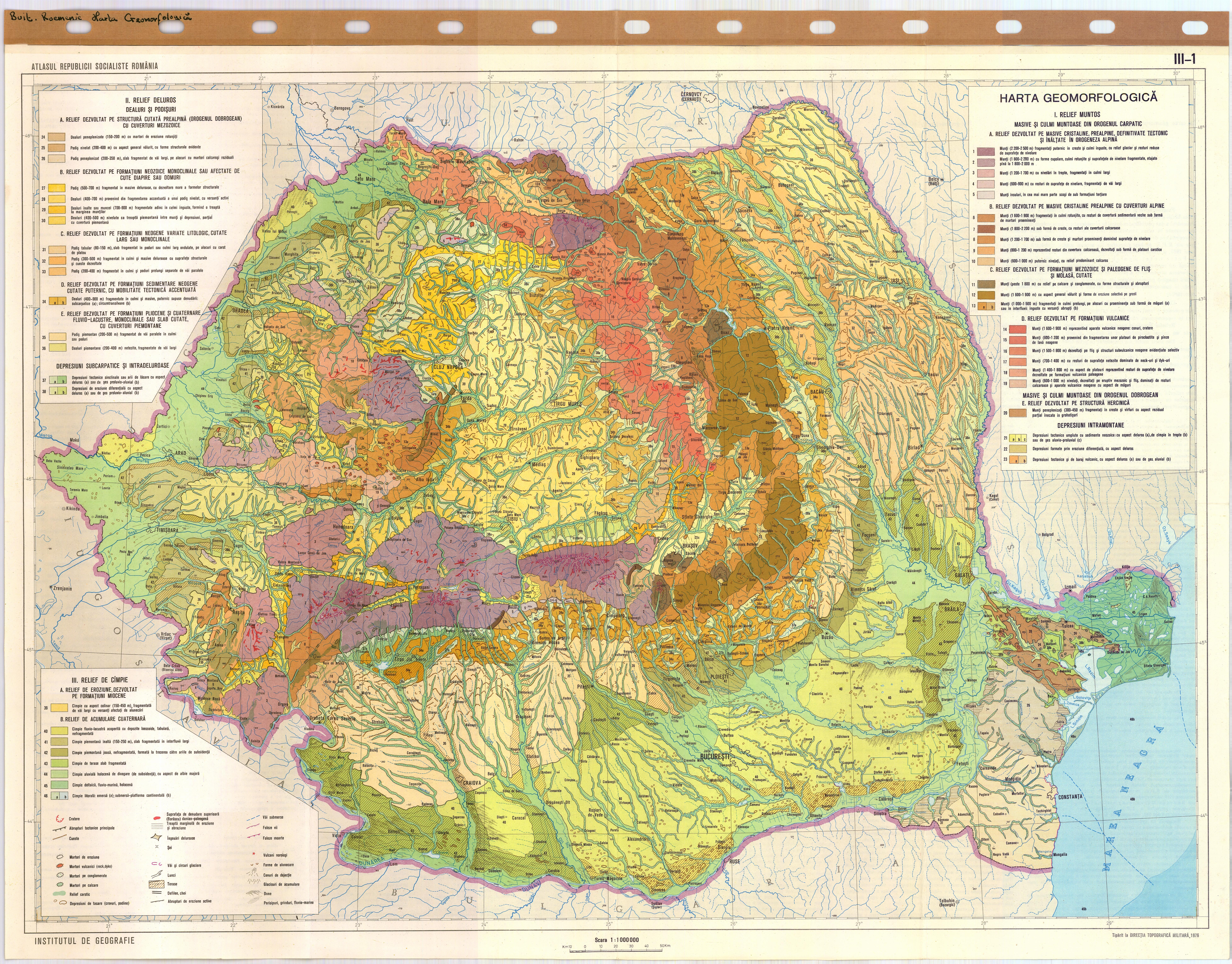 Atlasul Republicii Socialiste Romania Harta Geomorfologica Iii