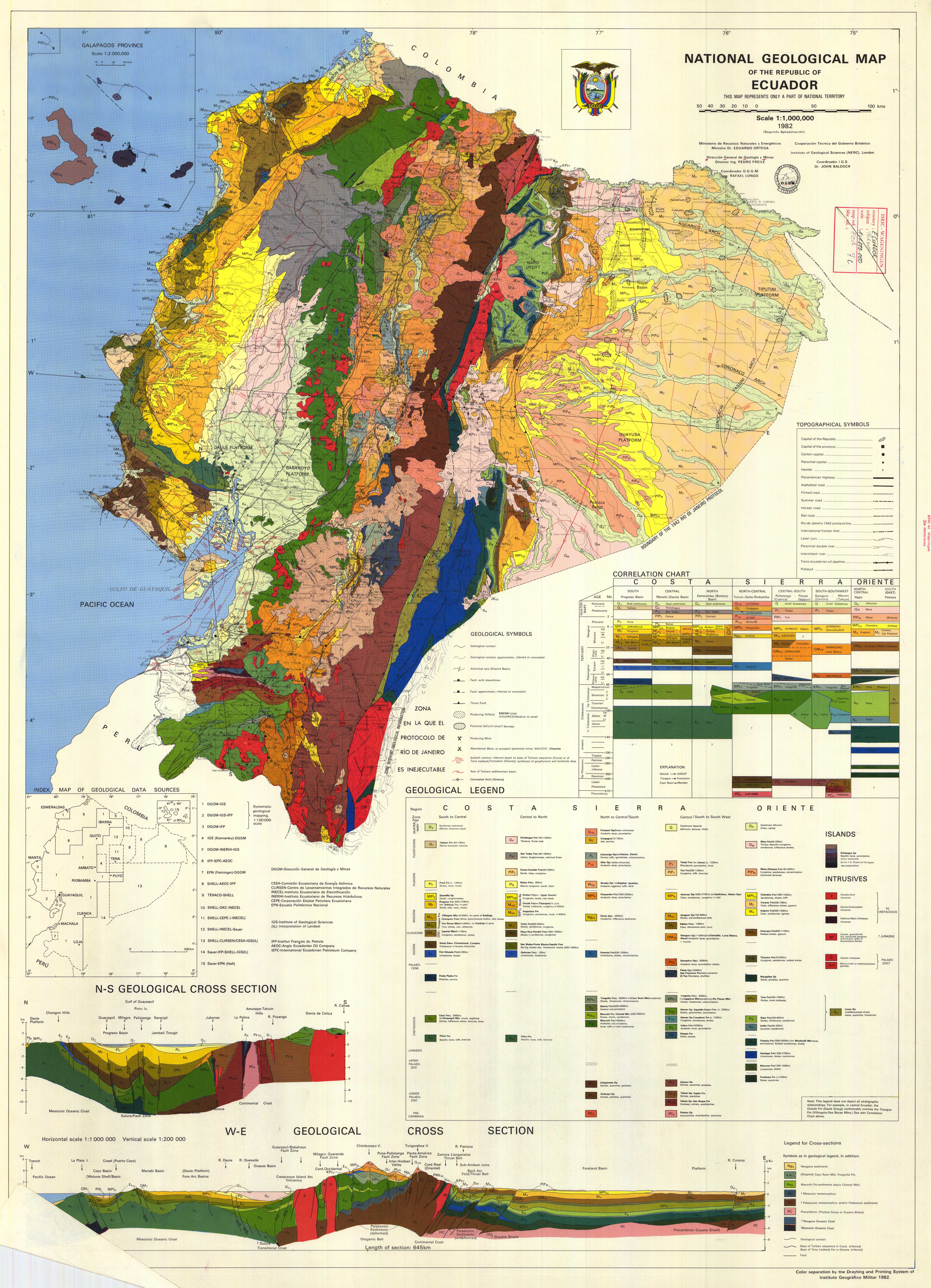 National Geological Map of the Republic of Ecuador including