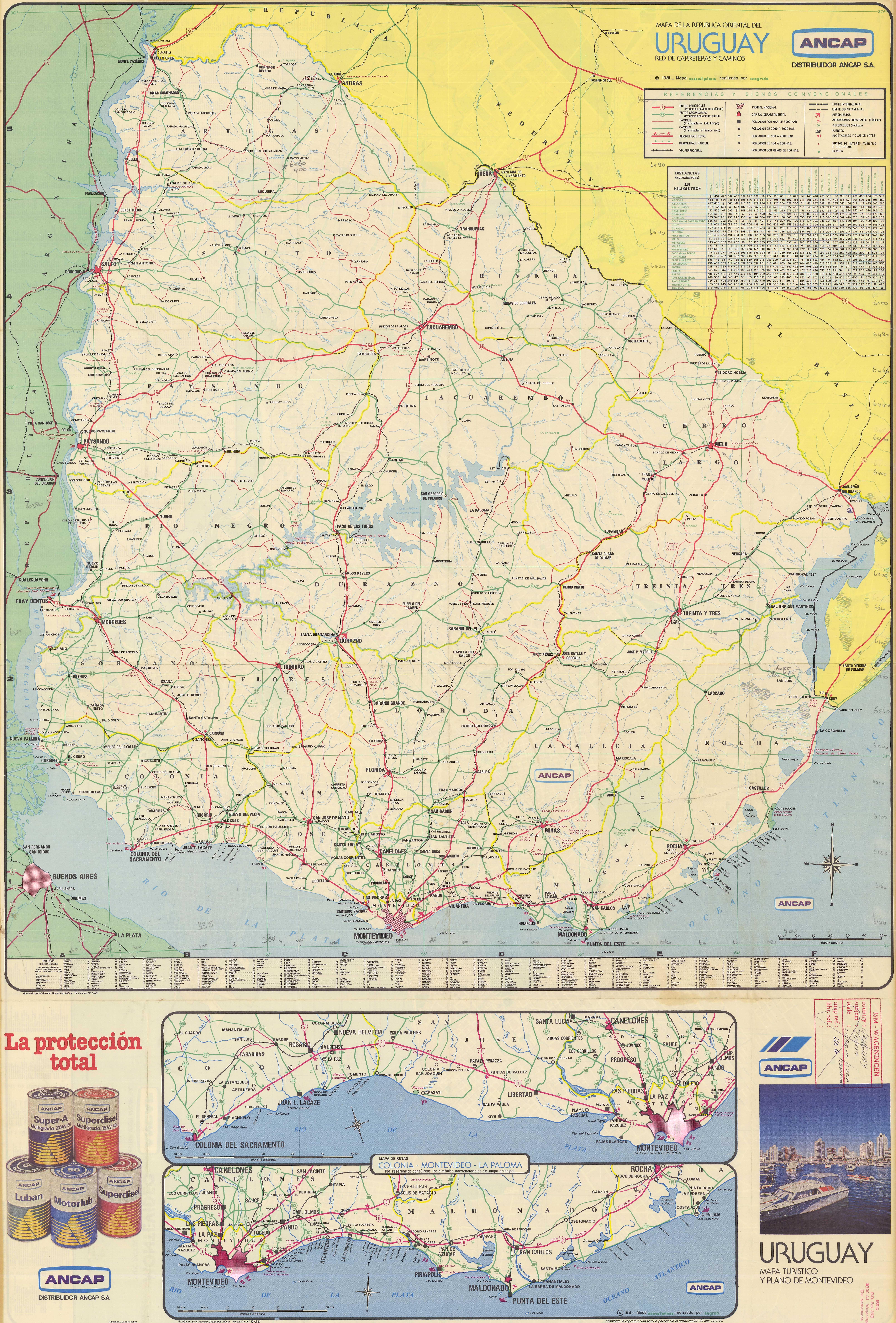 Mapa De La Republica Oriental Del Uruguay Red De Carreteras Y - Uruguay map atlas