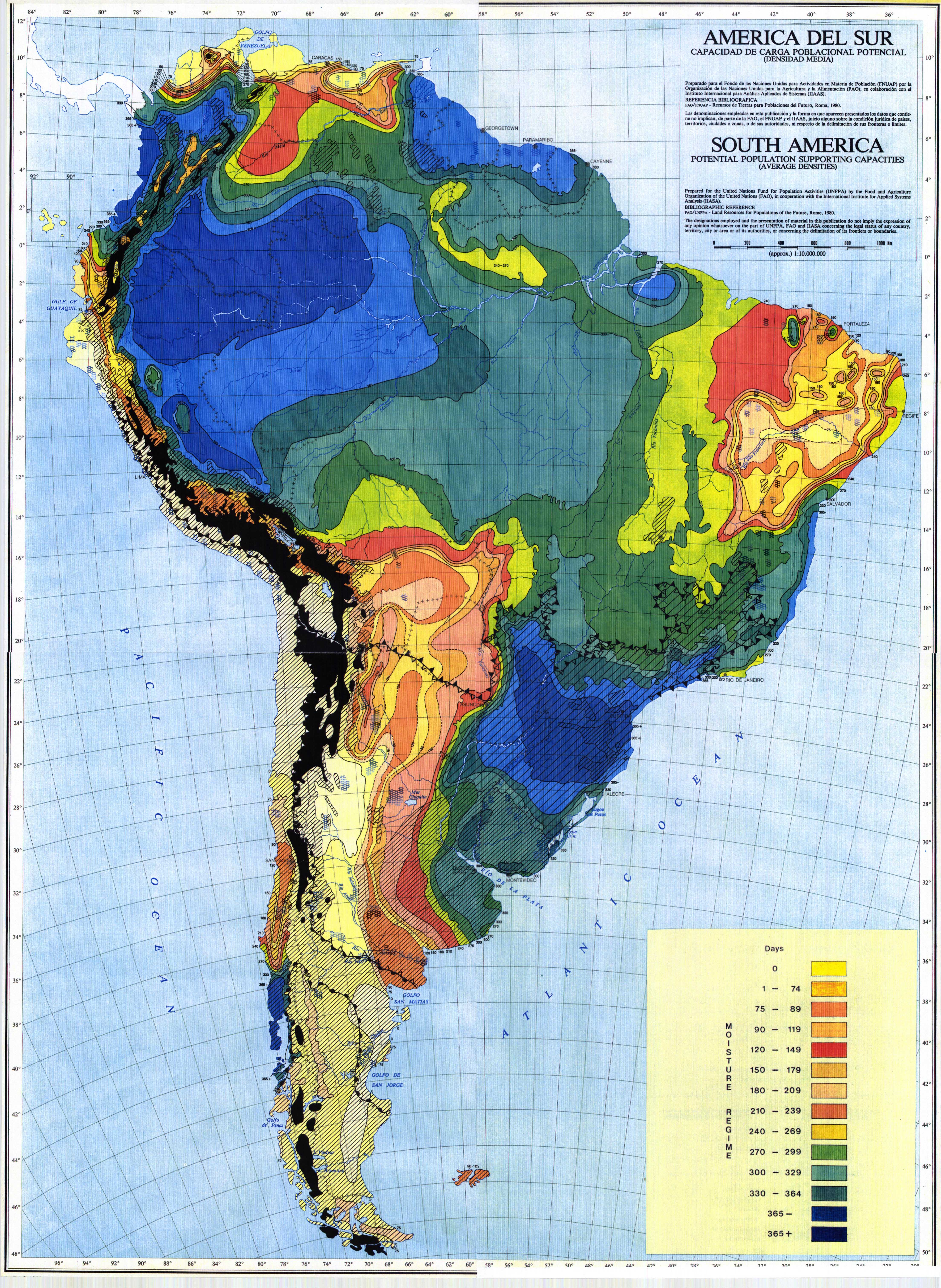South America Potential Population Supporting Capacities Average - South american population map