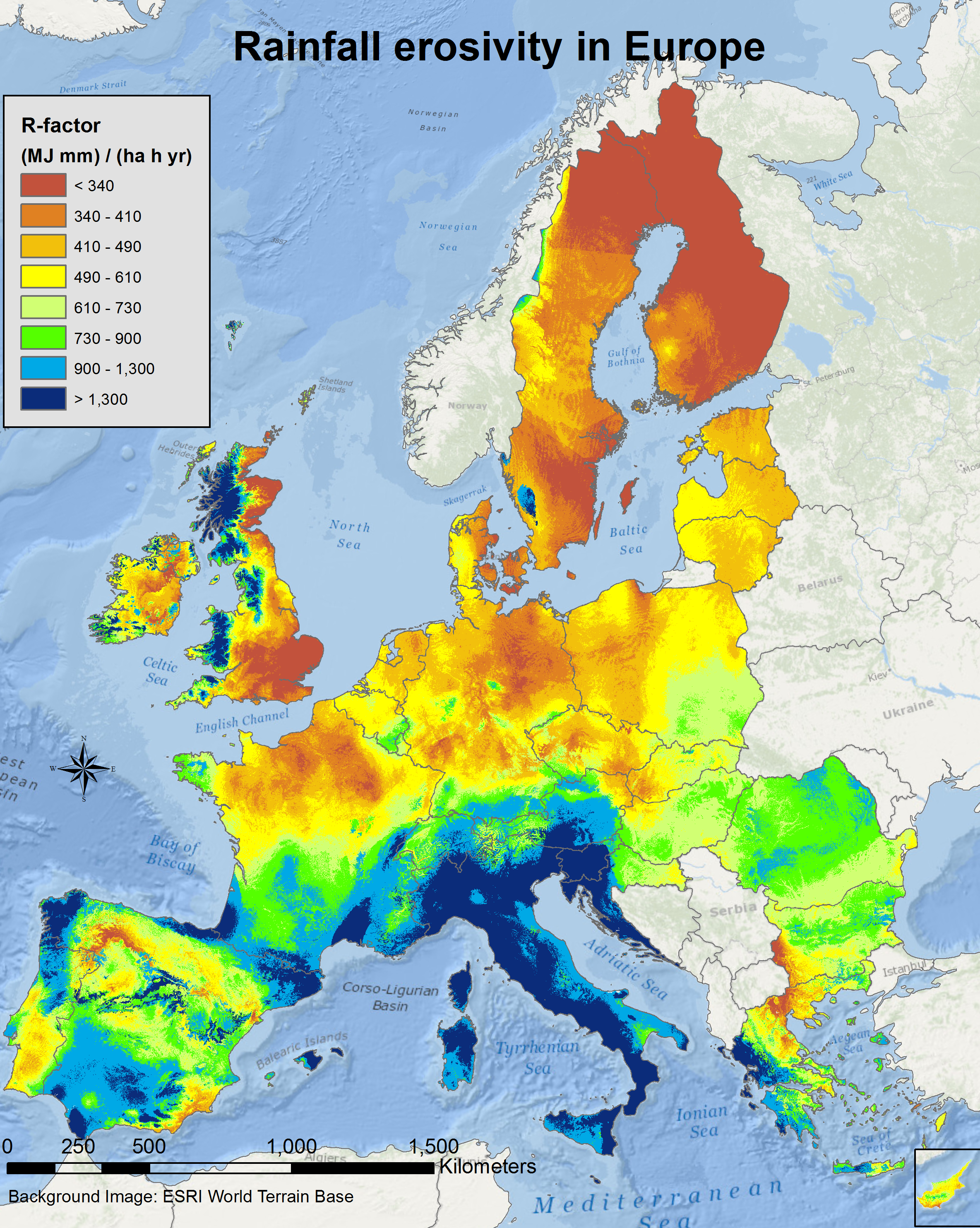 2015 Map Of Europe.Rainfall Erosivity In The Eu And Switzerland R Factor Esdac