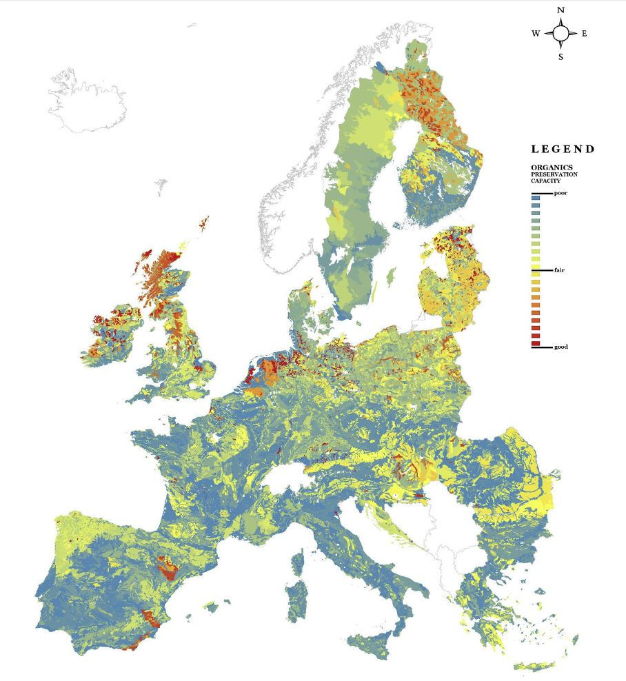 below is one example of the maps soil based preservation capacity for organic materials across the eu as reported in the study mentioned above