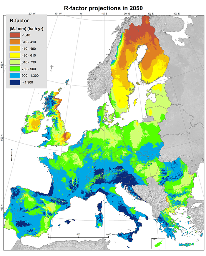 future rainfall erosivity  projections for 2050 based on