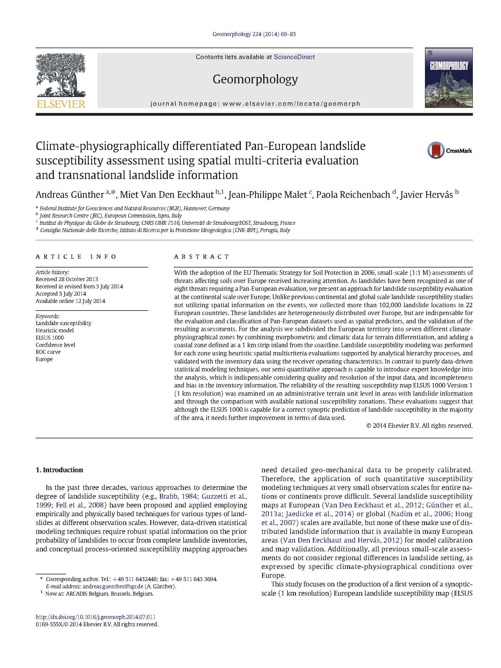 Synoptic Pan European Landslide Susceptibility Assessment The Elsus 1000 V1 Map In Sassa K Canuti P Yin Y Eds Landslide Science For A Safer